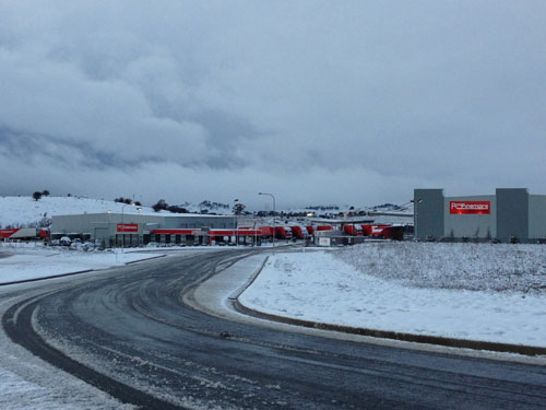 Ron Finemore Transport Yard at Orange NSW in the recent snow storms