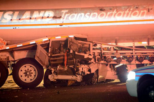 Car underneath tanker in Holtsville
