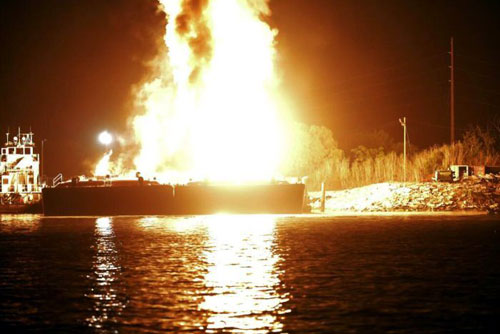 Fuel barge fire
