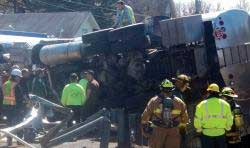 Emergency workers at tanker on US Route 220