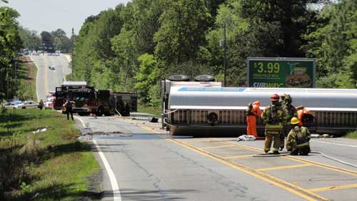 Overturned tanker in Dacula
