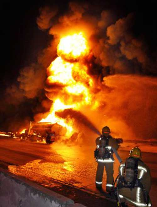 Tanker fire in California