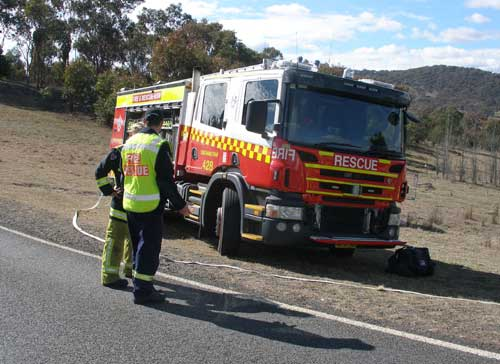 Fire Brigade pumper from Queanbeyan at the exercise