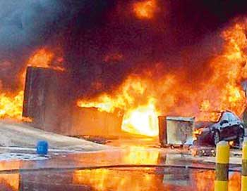 Fuel tanker fire at gas station in Saudi Arabia