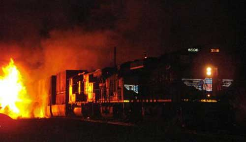 Texas freight trains and tanker incident